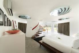 amazing and luxury bedroom design floating staircase in villa sapi