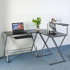Desk L Shaped Us Black Computer Desk L Shaped Metal Sliding Keyboard Home