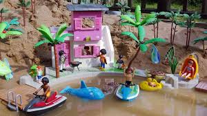 playmobil fun beach house playset with sea animals toys for kids