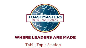 Table Topics Toastmasters Table Topic Session