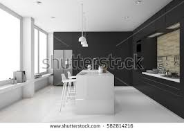 Black And White Contemporary Kitchen - modern kitchen design stock images royalty free images u0026 vectors