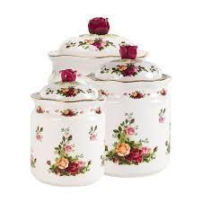 Apple Kitchen Canisters Amazon Com Royal Albert Old Country Roses Canisters Set Of 3