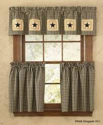 Country Rustic Curtains Primitive Country Farmhouse Black Tan Plaid Star Curtain Swag