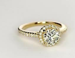 gold halo engagement rings classic halo engagement ring in 14k yellow gold 1 4 ct