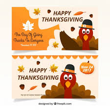 thanksgiving banners with turkey vector free