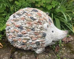stones effect garden patio hedgehog ornament feature