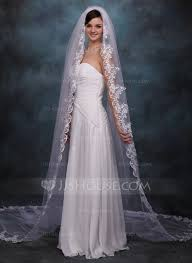 wedding veils one tier cathedral bridal veils with lace applique edge 006020359