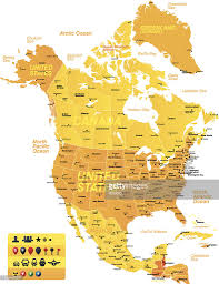 Map Of Nirth America by Yellow And Orange Map Of North America Vector Art Getty Images