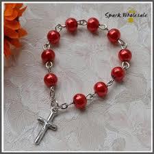 rosary rings catholic glass pearl imitation finger rosary religious mini