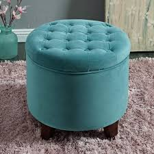 homepop large round button tufted storage ottoman free shipping