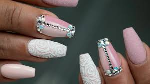 how to hard gel refill and nail art with stones and roses