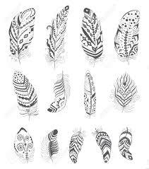 set of ornamental boho style feather hippie design elements