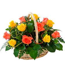 beautiful basket of light orange u0026 dark orange roses finished with