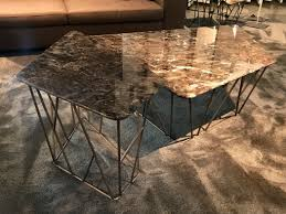 triangular coffee table with marble metal top twig twig