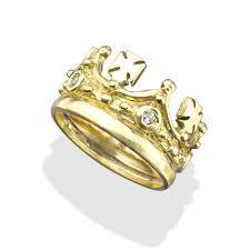 mens gold ring diamonds crosses 18k gold crown ring