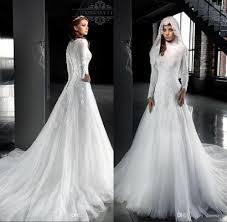 modest wedding dress discount white arabic sleeves lace modest wedding dresses
