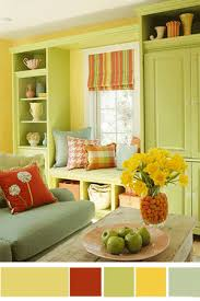 Interior Color Schemes YellowGreen Spring Decorating Living - Green and yellow color scheme living room
