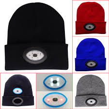 beanie with led lights powerful led headl 6led knitted hat rechargeable light hands free