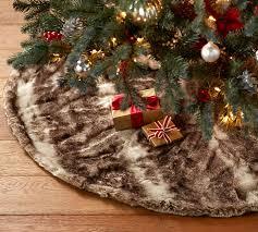 fur christmas caramel ombre faux fur treeskirt pottery barn