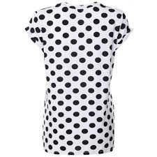 womens white polka dot t shirt