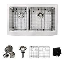 33 inch farmhouse kitchen sink kraus 33 inch farmhouse apron 60 40 double bowl 16 gauge stainless