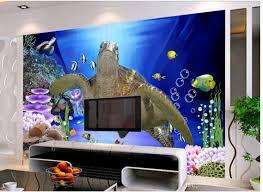 home decor living room natural art 3d underwater world turtle tv
