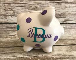 monogrammed piggy bank kids piggy banks etsy