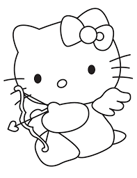 cupid hello kitty valentine coloring pages valentine coloring