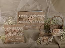 wedding guest book set burlap birch bark wedding set guest book rustic