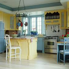 cute small corner kitchen with blue and white themed vintage color