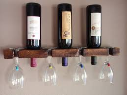 picture of simple diy wine glass rack and bottle holder for 3