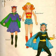 Homemade Woman Halloween Costume 1970s Simplicity 8720 Girls Superhero Costume Pattern Catwoman