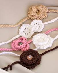 crochet hair bands hippie hair band with four crochet flowers my creations