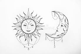 sketch of the sun and the moon white background stock