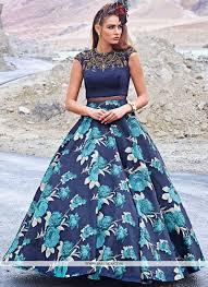 buy navy blue fancy fabric print work designer gown online south