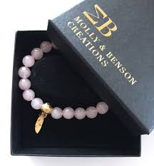 rose quartz gold bracelet images Molly benson creations rose quartz bead bracelet with gold jpg