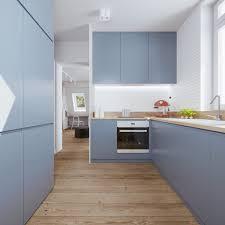 Blue Kitchen Design Minimalist Apartment Design With Soft Color Scheme Roohome