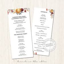 fall wedding programs fall wedding program printable stationery weddings
