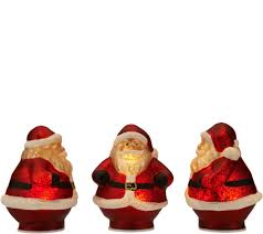 set of 3 mini illuminated mercury glass holiday figurines u2014 qvc com