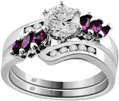 Amethyst Wedding Rings by Carat Flume Diamond U0026 Amethyst 14kt White Gold Engagement Ring
