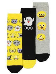 3 pack emoji halloween socks kids george