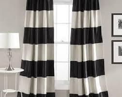 Black And White Stripe Curtains Stripe Curtains Etsy