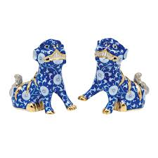foo dogs blue chrysanthemum foo dogs dogs figurines herend usa