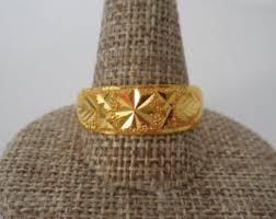 mens gold ring handmade thai solid 23k gold ring men ring solid 23k gold