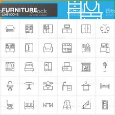 furniture line icons set home interior outline vector symbol