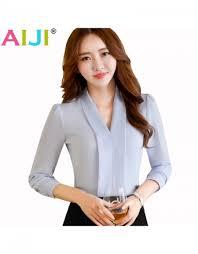 formal blouse v neck shirt formal sleeve chiffon blouse