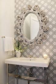 powder rooms with wallpaper gray powder room with imperial gates wallpaper transitional bathroom