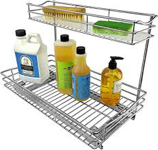 sink kitchen cabinet organizer lynk professional sink cabinet organizer pull out two tier sliding shelf 11 5wx 18d x 14h inch chrome