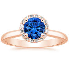 sapphire halo engagement rings sapphire halo ring 1 8 ct tw in 14k gold