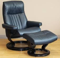 Reclining Leather Armchair Crown Cori Blue Leather Recliner Chair